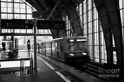 Berlin S-bahn Train Speeds Past Platform At Alexanderplatz Main Train Station Germany Print by Joe Fox
