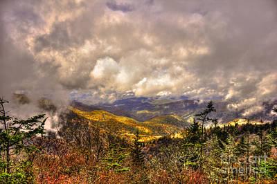Between The Clouds Blue Ridge Parkway North Carolina Print by Reid Callaway