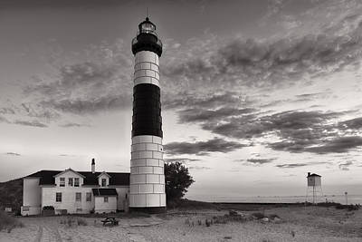 Big Sable Point Lighthouse In Black And White Print by Sebastian Musial