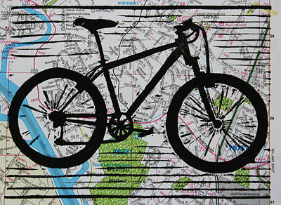 Lino Drawing - Bike 10 by William Cauthern