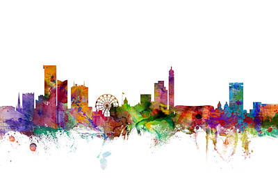 Great Britain Digital Art - Birmingham England Skyline by Michael Tompsett
