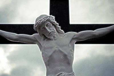 Jesus Christ Digital Art - Black Cross by Munir Alawi