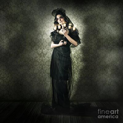 Black Fashion Model In Dark Vintage Haunted House Print by Jorgo Photography - Wall Art Gallery
