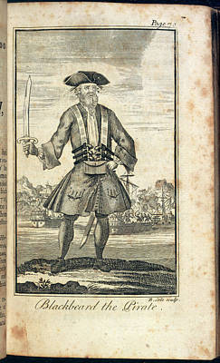 Blackbeard The Pirate Print by British Library