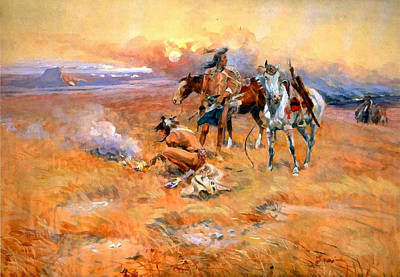 Blackfeet Burning Crow Buffalo Range Print by Charles Russell
