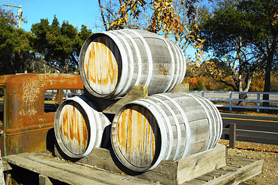 Winery Digital Art - Blackjack Winery Wine Barrels by Barbara Snyder