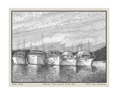 Seattle Drawing - Northwest Raft Up by Jack Pumphrey