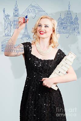 Blond Woman Drawing A Travel Landmark Illustration Print by Jorgo Photography - Wall Art Gallery