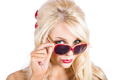 Blond Woman In Sunglasses Print by Jorgo Photography - Wall Art Gallery