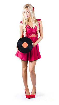 Youthful Photograph - Blond Woman With Vinyl Record by Jorgo Photography - Wall Art Gallery