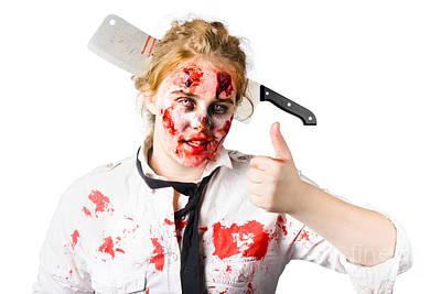 Bloody Woman With Cleaver In Head Print by Jorgo Photography - Wall Art Gallery