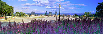 Quebec Photograph - Blooming Flowers With City Skyline by Panoramic Images