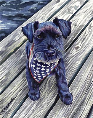 Blue Black Dog On Pier Original by Robyn Saunders