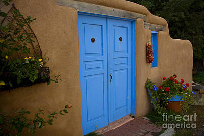 Adobe Church Photograph - Blue Doors by Timothy Johnson