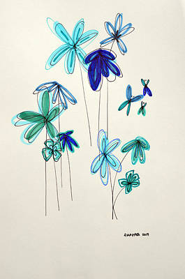 Wrap Drawing - Blue Flowers by Patricia Awapara
