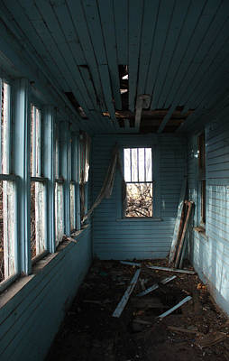 Abandoned Photograph - Blue Hall by Larysa  Luciw