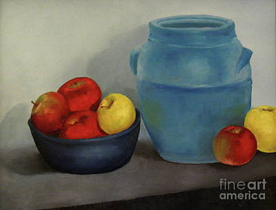 Dlgerring Painting - Blue Jar And Apples by D L Gerring