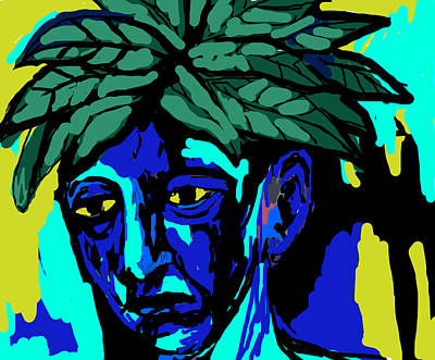 Face Painting - Blue Man by Moshfegh Rakhsha