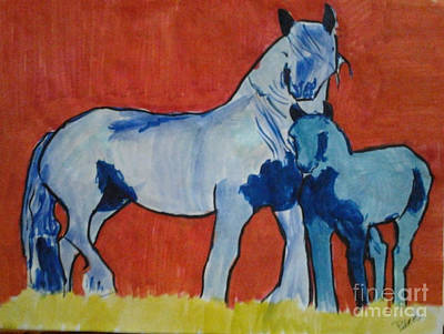 Pinto Painting - Blue Pintos by Patries Van Dokkum