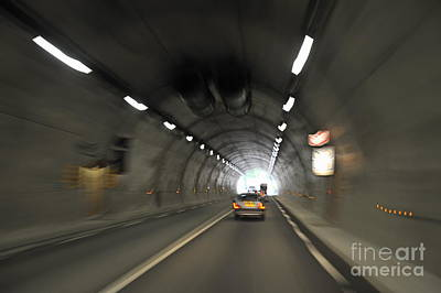 Blurred Motion In A Road Tunnel Print by Sami Sarkis