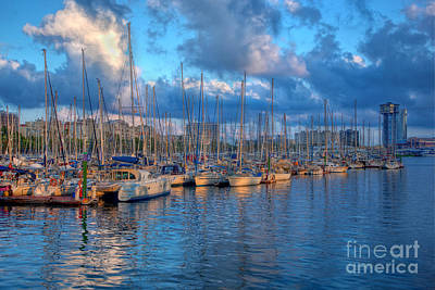 Terminal Photograph - Boats In The Harbor Of Barcelona by Michal Bednarek