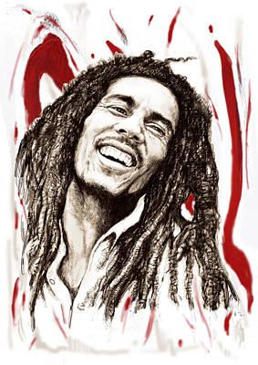 Charcoal Mixed Media - Bob Marley Colour Drawing Art Poster by Kim Wang