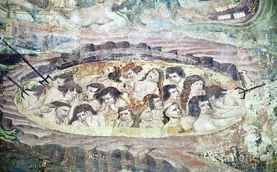 Boiling In Hell, 14th Century Fresco Print by Sheila Terry