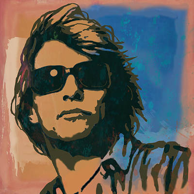 New Jersey Musician Drawing - Bon Jovi Long Stylised Drawing Art Poster by Kim Wang