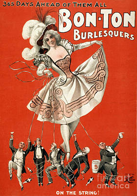 Suggestive Photograph - Bon Ton Burlesquers 1898 by Photo Researchers