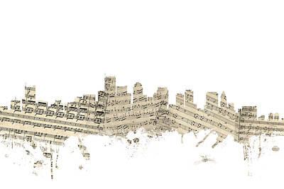 Boston Digital Art - Boston Massachusetts Skyline Sheet Music Cityscape by Michael Tompsett