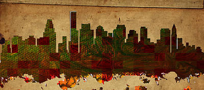 Poster Painting - Boston Skylines by MotionAge Designs