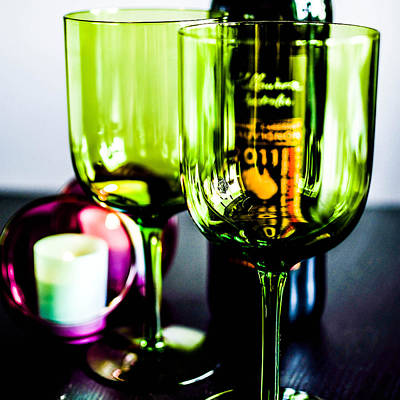Bottle Glass And Grapes In Delightful Mix Print by Toppart Sweden