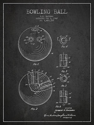 Bowling Digital Art - Bowling Ball Patent Drawing From 1949 by Aged Pixel