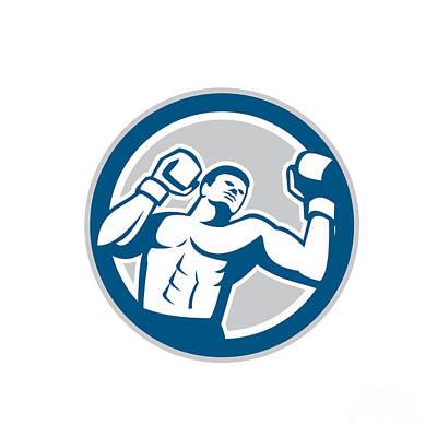 Jab Digital Art - Boxer Boxing Boxing Circle Retro by Aloysius Patrimonio