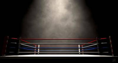 Boxing Ring Spotlit Dark Print by Allan Swart