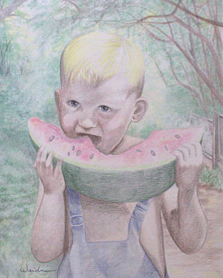 Watermelon Drawing - Boy With Watermelon by Kathy Weidner