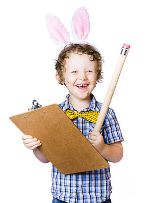 Youthful Photograph - Boy Writing Easter List by Jorgo Photography - Wall Art Gallery