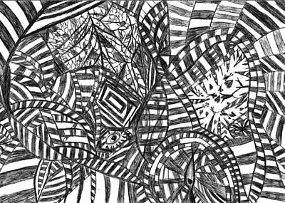 Abstract Movement Drawing - Brain Depth  by Rowan Van Den Akker