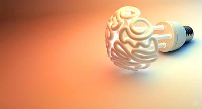 Understanding Digital Art - Brain Flourescent Light Bulb by Allan Swart