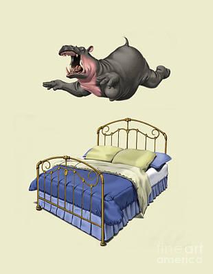Hippopotamus Mixed Media - Break Time Colour by Rob Snow