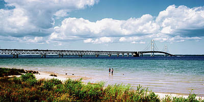Bridge Across A Lake, Mackinac Bridge Print by Panoramic Images