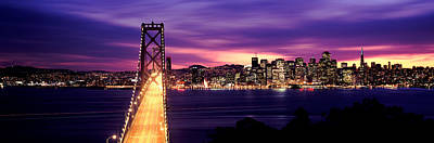 Bridge Lit Up At Dusk, Bay Bridge, San Print by Panoramic Images