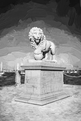 Bridge Of Lions St Augustine Florida Painted Bw   Print by Rich Franco