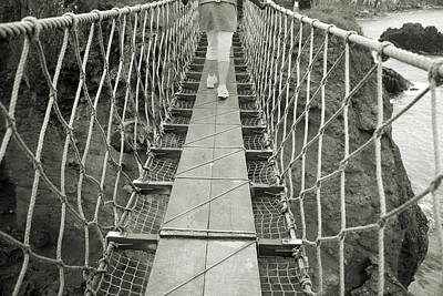 Bridge Walk Carrick-a-rede Northern Ireland Print by Betsy C Knapp