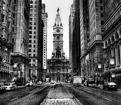 Urban Canyon Digital Art - Broad Street In Philadelphia by Bill Cannon