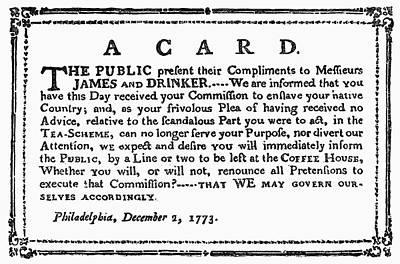 Patriotic Painting - Broadside Tea Tax, 1773 by Granger