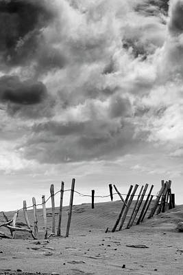 Wooden Fence Post Photograph - Broken Fence In Dune, South Shields by John Short
