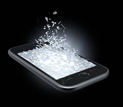 Broken Smartphone Screen Print by Andrzej Wojcicki