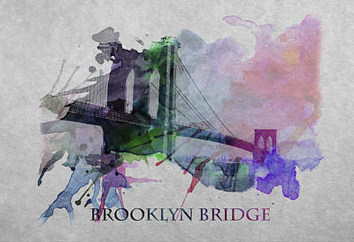 Abstract Digital Art Expressionism Impressionism Color Colorful River Digital Art - Brooklyn Bridge 2 by Steve K