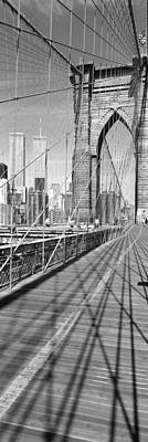 Twin Towers Photograph - Brooklyn Bridge Manhattan New York City by Panoramic Images